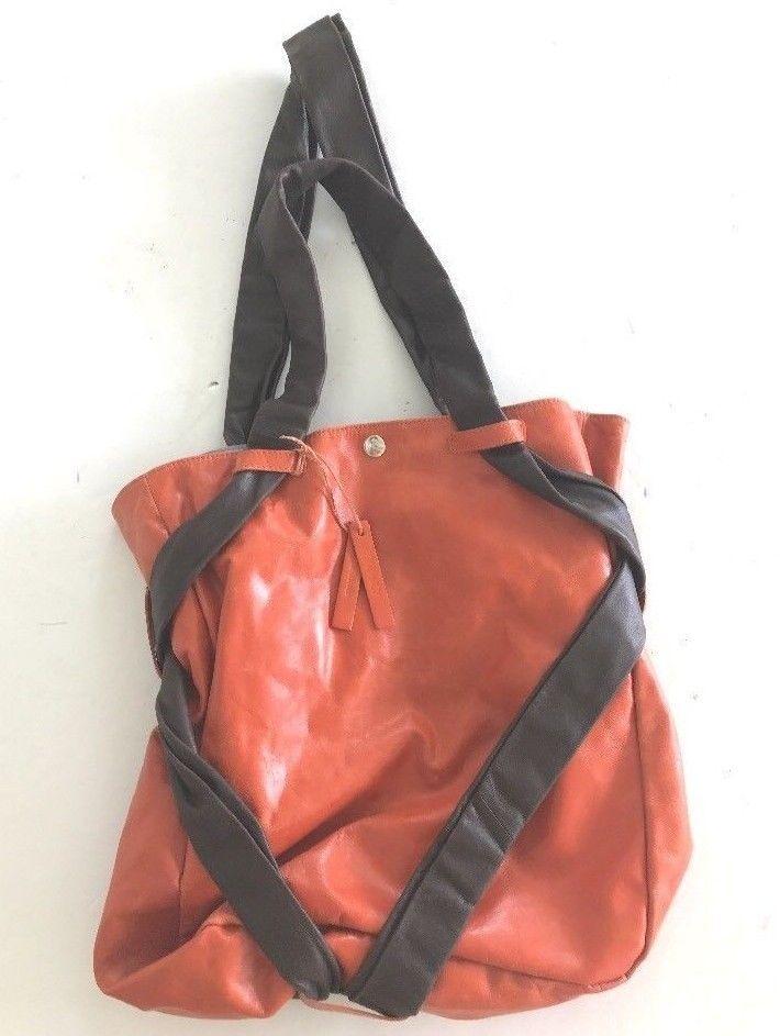 b85d89bdea04 TANO Orange BROWN LEATHER Handbag SATCHEL SLOUCHY HOBO Tote SHOULDER BAG  purse  eBayDanna