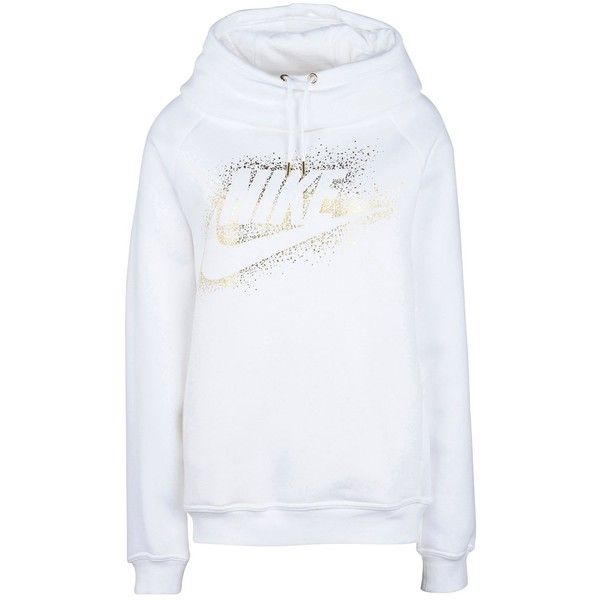 Nike Sweatshirt ($74) ❤ liked on Polyvore featuring tops, hoodies, sweatshirts, white, white turtleneck, turtleneck top, white cotton sweatshirt, long sleeve tops and turtleneck sweatshirt