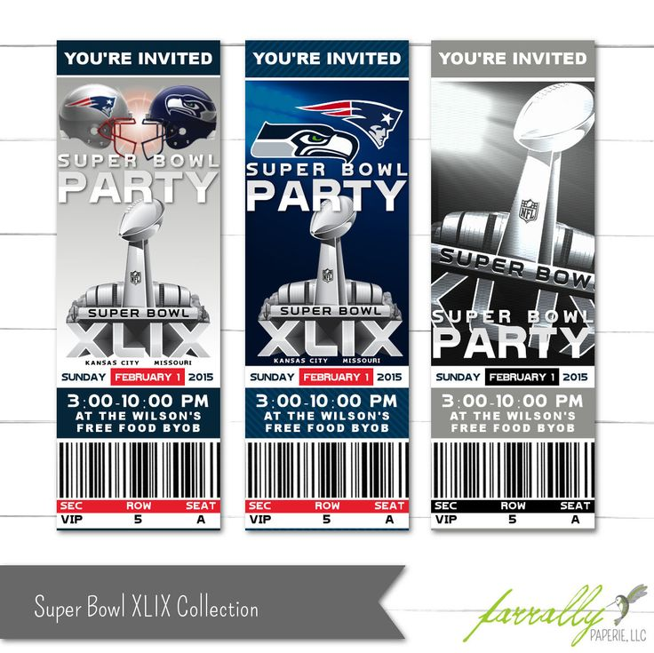Super Bowl Invitations - Super Bowl XLIX - Super Bowl 2015 - Ticket Invitations - Party Printables by FarrallyPaperie on Etsy https://www.etsy.com/listing/219225165/super-bowl-invitations-super-bowl-xlix