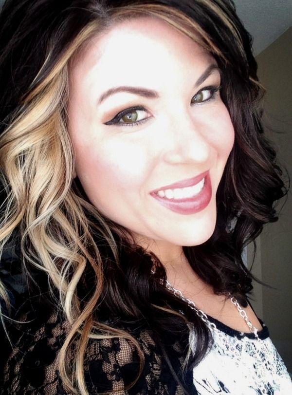 Dark brown hair with blonde chunk