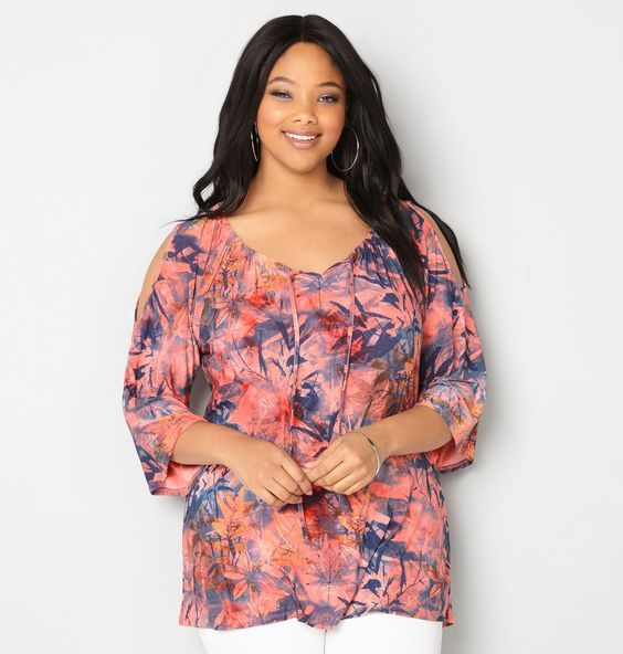 Shop tops with lots of pattern and texture like our new plus size Jacquard Leaf Cold Shoulder Top available in sizes 14-32 online at avenue.com. Avenue Store