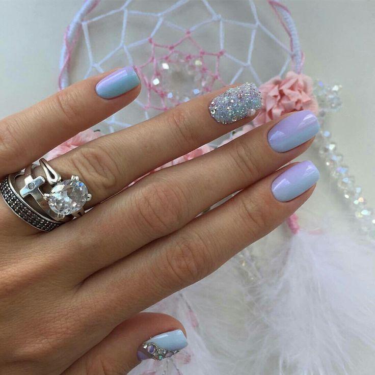 Accurate nails, Blue and silver nails, Blue lacquer nails, Blue nail art, Christmas nails, Lady Gaga nails, Nails with rhinestones, New year nails ideas 2017