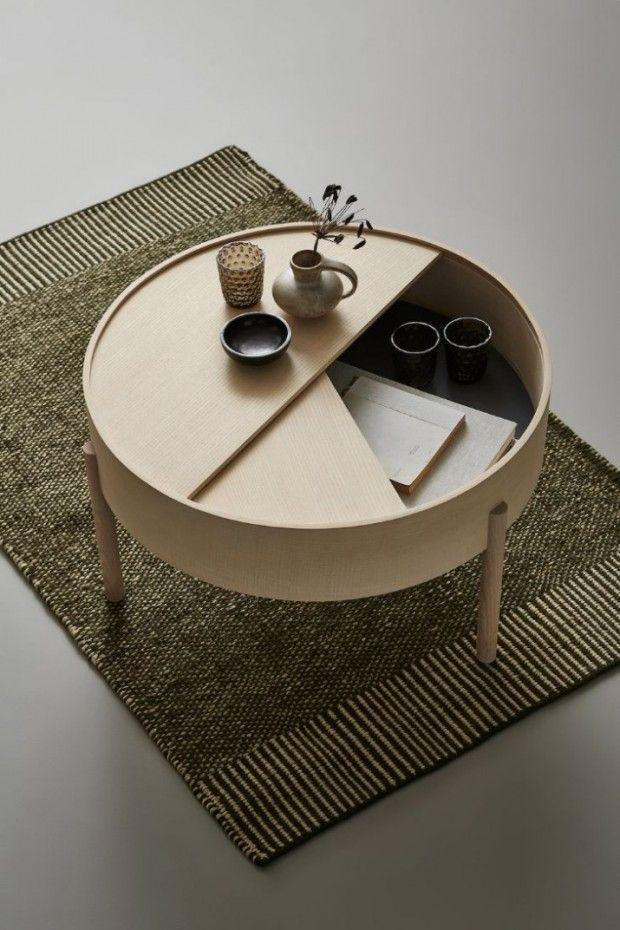 Arc, table basse avec espace de rangement dissimulé par Julie Begtrup et Ditte Vad pour WOUD