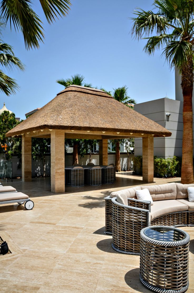 The perfect start to the morning, outdoor heaven!  Thatched gazebo with modern pillars #Gazebo #Home