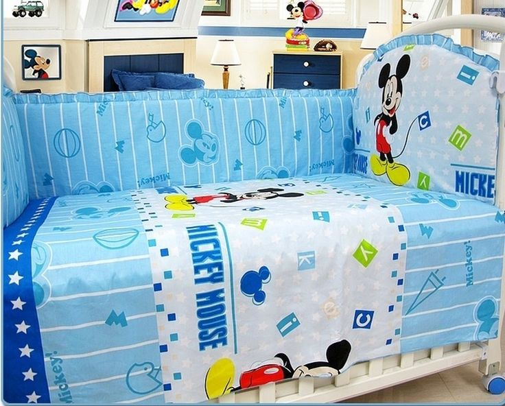(39.80$)  Buy here  - Promotion! 6PCS Mickey Mouse Kids bedding sets baby crib bedding girl crib sheets100% cotton (bumpers+sheet+pillow cover)