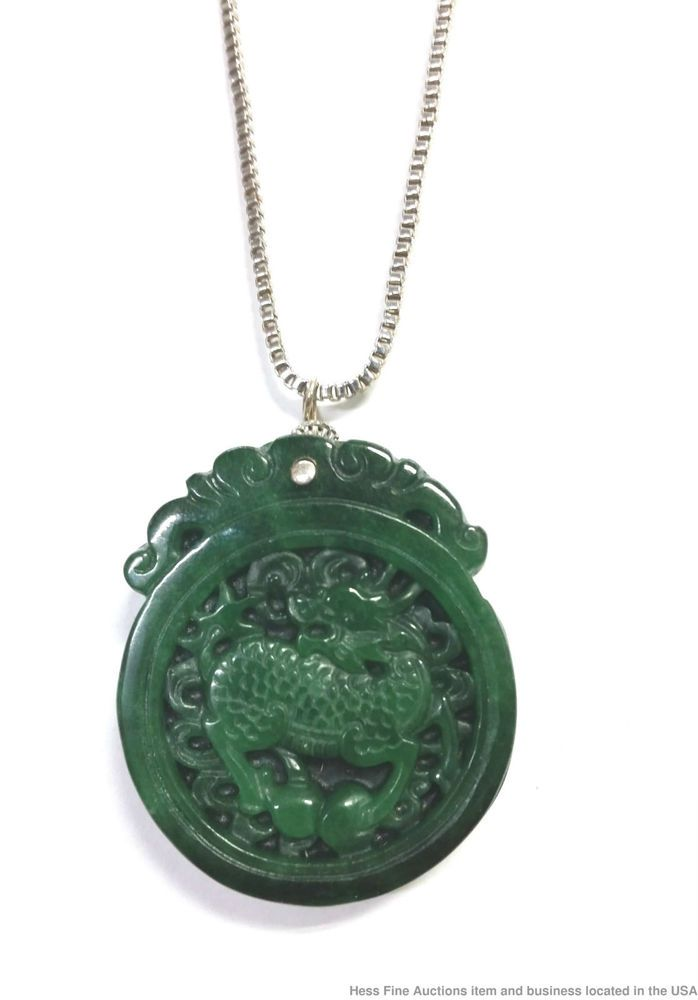 Fine Chinese natural white jade hand-carved double dragon lucky pendant necklace