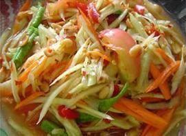 Papaya Pok-Pok Salad :Sliced green papaya with dried shrimp, tomatoes, chili, lime juice, ground peanut from Pattaya Bay Restaurant in Los Angeles #Food #Salad #Restaurant forked.com