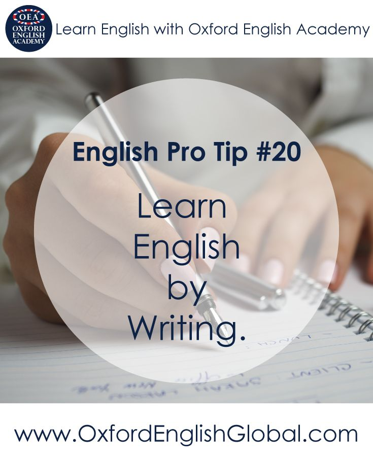 Try to write in English every day. This is a great way to practise grammar structures and vocabulary. Sometimes it's also great to just let your creative juices flow and not to worry too much about getting the writing perfect. Click VISIT for more English learning hints and tips from the Oxford English Academy blog.#oxfordenglishacademy #learnenglish #englishschool #englishcourse #learnenglishcapetown