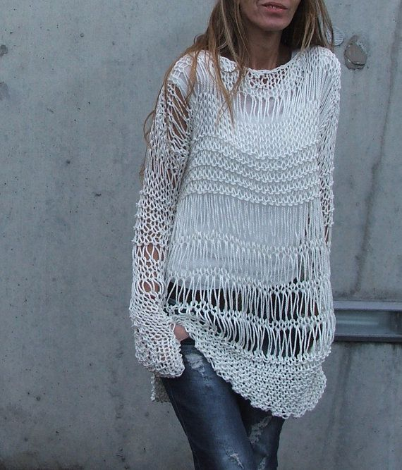 white sweater / ivory sweater / loose knit / Cotton by ileaiye