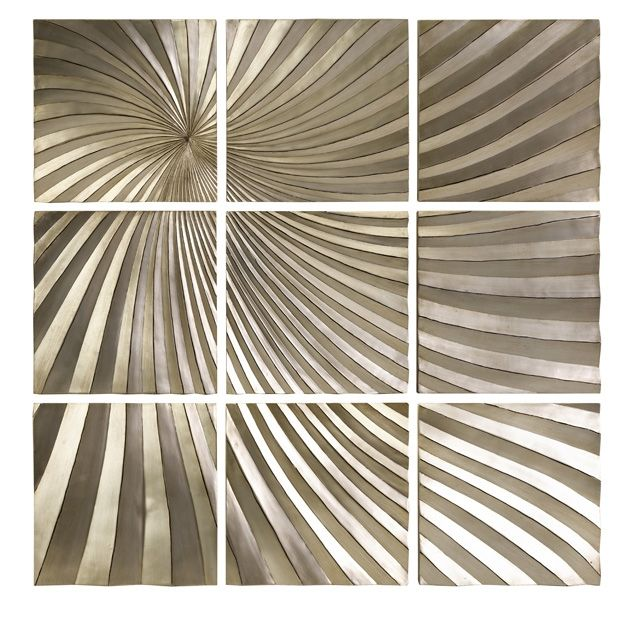 Mukkara Leaf 9 Panel Wall Decor Is A Dramatic Play On Abstract Dimensional  Art In Part 55