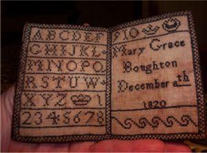 1820 Welsh sampler: Crosses Stitches Stitches, Samplers Pockets, Ears Sampler, Antiques Sampler, Merklappen Marquoir Samples, Antique Samplers, Merklappen Marquoirs Samplers, Antiques Needlework, Welsh Sampler