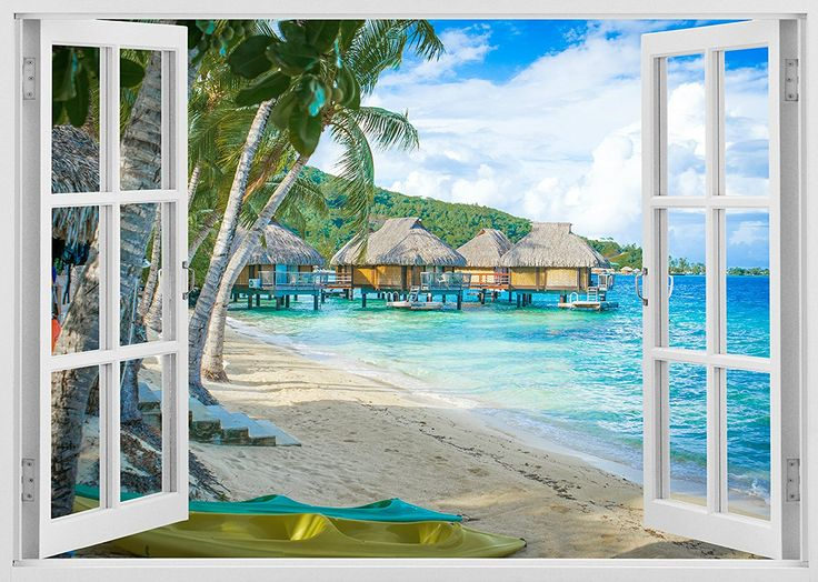 Removable Vinyl Wall Mural Stickers By Mi Alma   White Window Frame Design    Wide Variety Of Realistic Views   Easy To Apply Simply Peel U0026 Stick ...