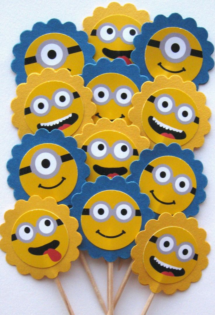 Despicable Me Minion Faces Cupcake by CakeToppersAndBeyond on Etsy, $6.00