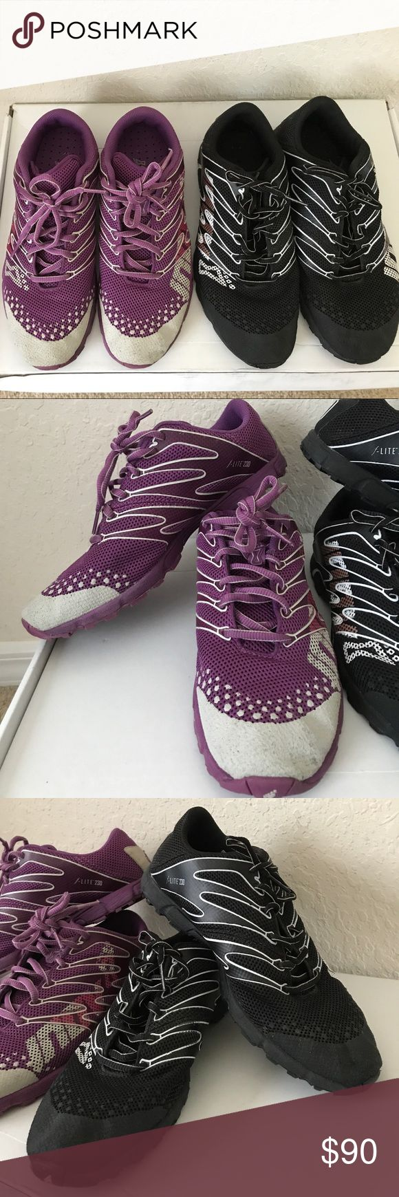Women's Inov Training Shoes 7.5 F-Lite 230 Inov Women's Crossfit Shoes, Size 7.5 in Purple and Black. You are buying both shoes for less than the price of one. Original price for one pair is $125 These are used but in very good condition. (Wihtout the box) Inov Shoes Athletic Shoes