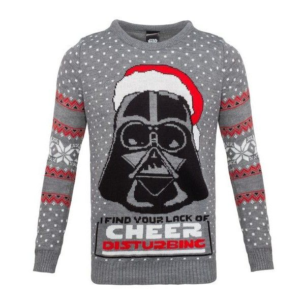 Star Wars Lack of Cheer Disturbing Unisex Knitted Christmas... via Polyvore featuring tops, sweaters, christmas holiday sweaters, darth vader sweater, distressed sweater, christmas sweaters and holiday party tops