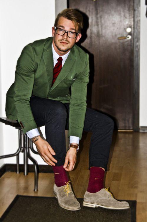 Men's Green Blazer, White Long Sleeve Shirt, Black Jeans ...