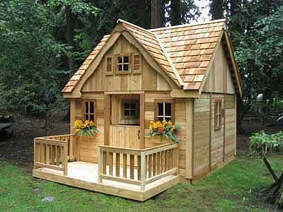 Cedar playhouse - what an adorable playhouse for the grandchildren!