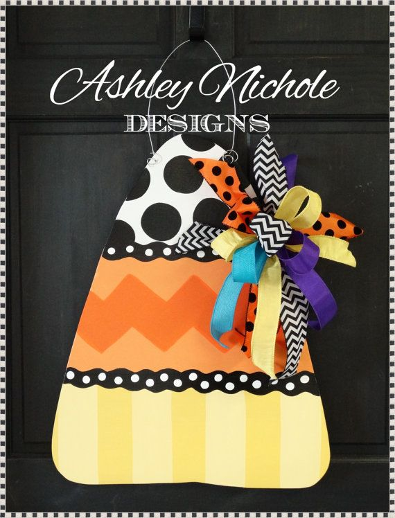 Candy Corn Door Hanger Door Decoration by DesignsAshleyNichole