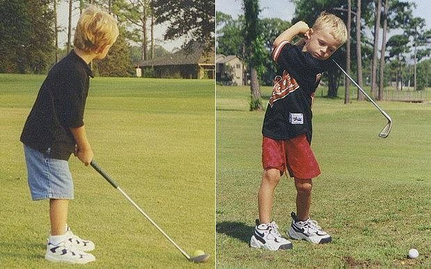 Jordan playing golf as a child