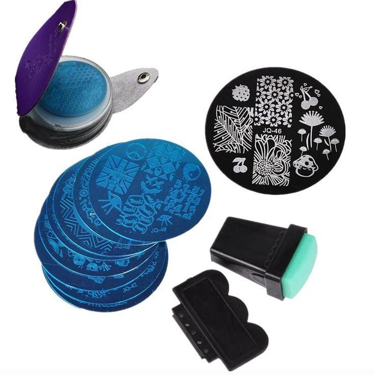 10 Nail Plates +1 Stamper + 1 Scraper + Pack Bag Nail Art Image Stamp Stamping Plates Manicure Template Nail Art Tools