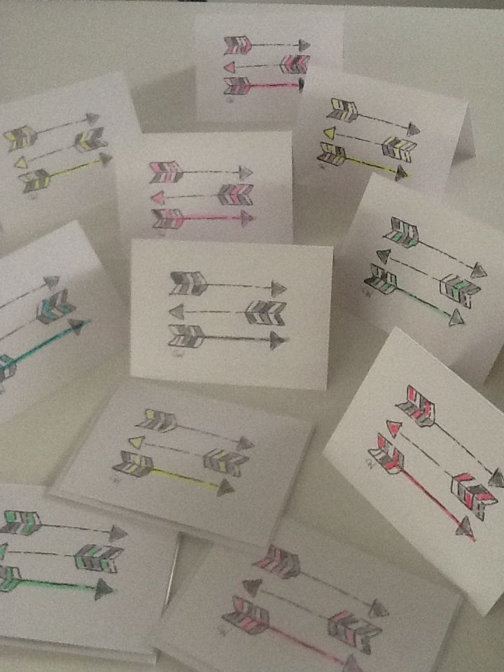 """NEW!  """"Arrows"""" from the """"Hearts + Arrows"""" collection.  Limited Edition.  Each card is individually hand-coloured in fluoro brights!  $7 each. Designed by Claire Webber, Hobart, Tasmania  For enquiries email: webberclaire@gmail.com"""