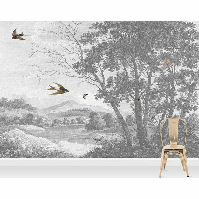 Zephyr Wall Mural // This is a personal favourite we are looking to put this etched mural up in our lounge.  A soft gentle breeze brings out the swallows to play in an etched English countryside scene.  Features  This wallpaper is a paste the wall product, so is quick and easy to hang. - Sun Oct 16 2016 08:54:26 GMT+0100 (BST)