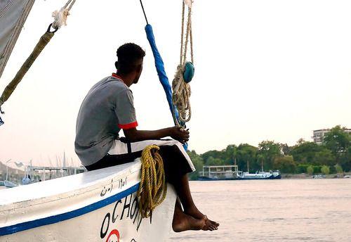 Nubian Boy sitting on His Faloca.