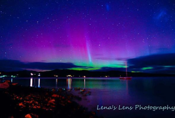Aurora in Tasmania photo by Lena's Lens Photography, used by permission