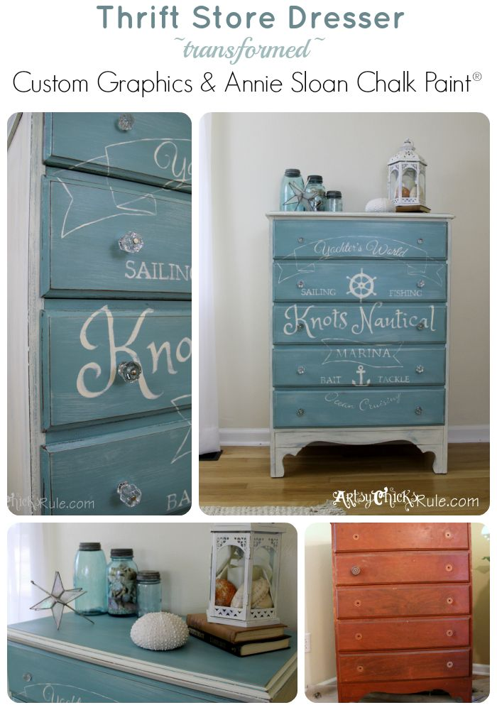 Knots Nautical - Thrift Store Dresser - Custom Graphic - Old White-Pure White blend with Provence Chalk Paint Collage
