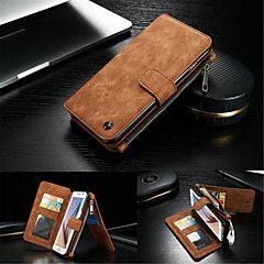 Teljes test pénztárca / állvánnyal Tömör szín Valódi bőr Kemény Tok Samsung Galaxy S7 edge / S7 / S6 edge plus / S6 edge / S6 / S5