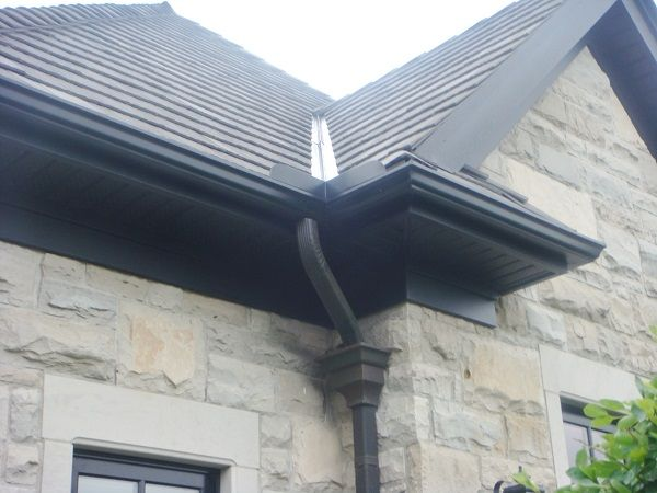 black aluminum soffit fascia and trough supplied by gentek gallery