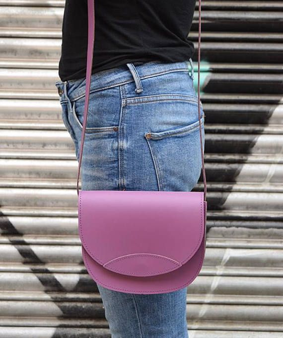 Classic Leather BagHandmade Leather Bag Lilac Bag Leather