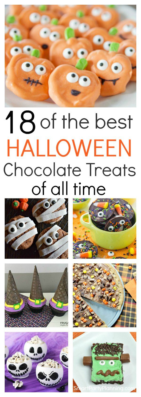 18 of the easiest chocolate treats you will find for a Halloween celebration.  With a mix of recipes, including cookies, cupcakes, brownies, and bite size treats, this selection will be enjoyed by both kids and adults. They are quick to make, they all look amazing and all taste delicious. It is the ultimate Halloween chocolate treat selection. via @https://au.pinterest.com/smartpartyplan/