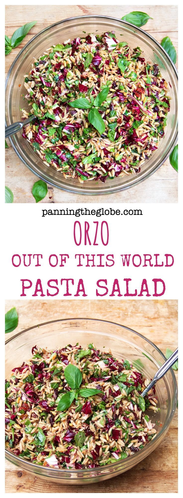 My all-time favorite pasta salad! Tender orzo tossed with olive oil, balsamic, Kalamata olives, sun-dried tomatoes, chopped radicchio, arugula, basil, garlic, toasted pine nuts and parmesan cheese.