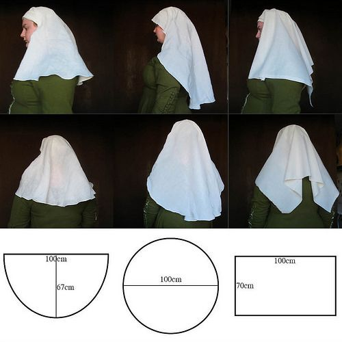 "I made this picture for a Swedish medieval sewing group on facebook that I am in and thought that I can just as well share it with you to. The question was ""how does different shaped veils look fro..."