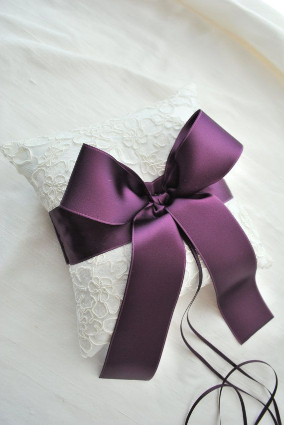 Ivory and Purple Lace Ring Bearer pillow on etsy