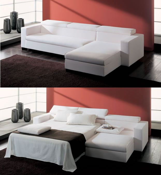 Brighton Beach: modern sectional sofa which can be available with or without bed. The sofa features straight wide armrests, a straight seat cushions without cuts in between the seats, a back with no back cushions but with a flip up headrest The cover can be taken in different fabric textures or leather , and is available completely removable.