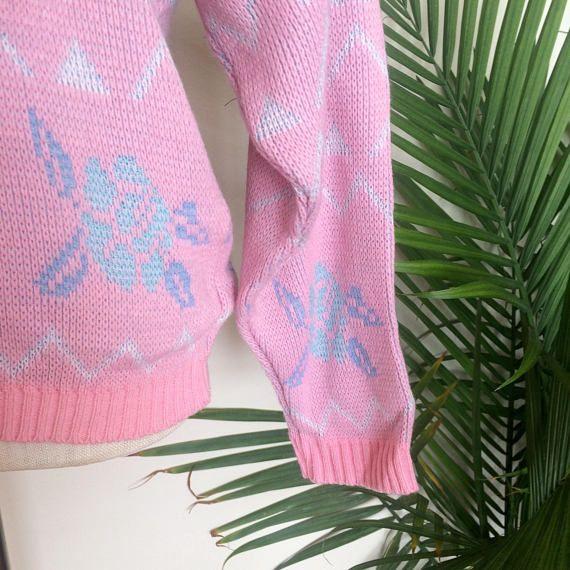 Vintage Knit Pullover Sweater, Blue Roses, by Mz Jones Boudoir