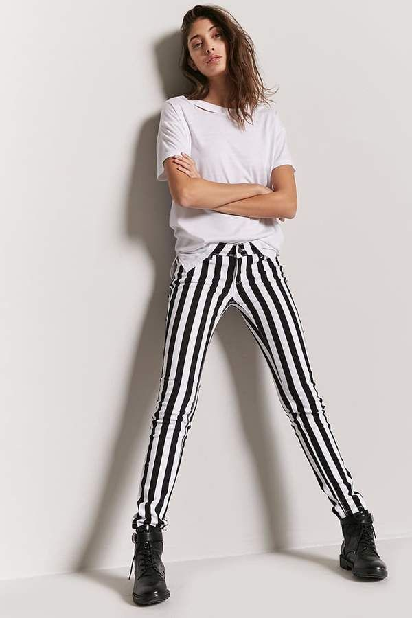FOREVER 21 Skinny Stripe Jeans. They come in 3 available colors and great for people who love the Beetlejuice movie!!