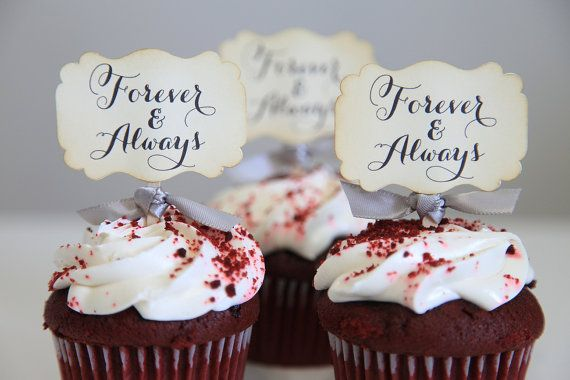 Wedding Cupcake Toppers / Forever and Always / Vintage / by Unify