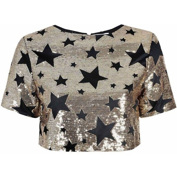 Black And Gold Star Embellished Crop Top (€83) ❤ liked on Polyvore featuring tops, shirts, crop top, blusas, gold, short-sleeve button-down shirts, sequined shirt, button up crop top, party crop tops and gold sequin top