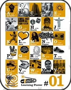 The ABC CoolAttitude, Coolest Abc, Picture-Black Posters, A Z Posters, Illustration Batchelorpad, Abc Posters, Alphabet Posters, Learning Posters, Alternativeatoz Illustration