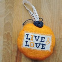 'Live and Love' patterned cross stitch hanging heart - DolceDecor home decoration