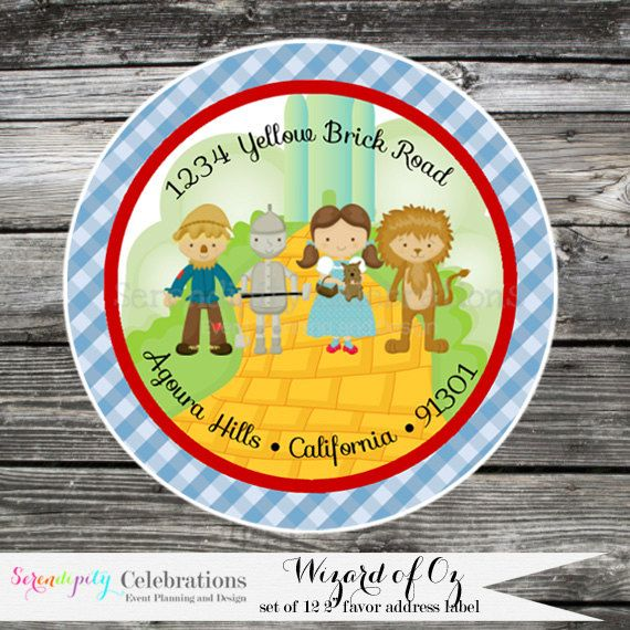 Set of 12 Personalized Printed Address Labels -Wizard of Oz -Return Address Labels -Sticker -Mailing Label -Birthday -Baby Shower    ♥
