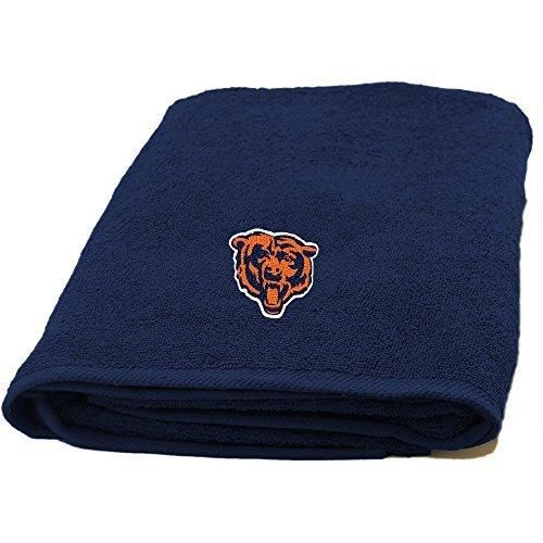 NFL Bears Bath Towel 25 X 50 Football Themed Applique Shower Towel Sports Patterned Team Logo Fan Merchandise Athletic Spirit White Burnt Orange Navy Blue Polyester