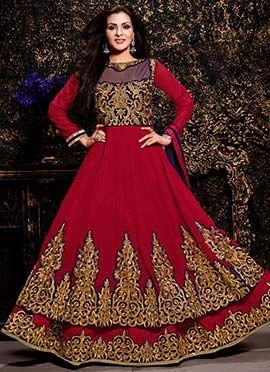 Deep Red Georgette Floor Length Anarkali Suit