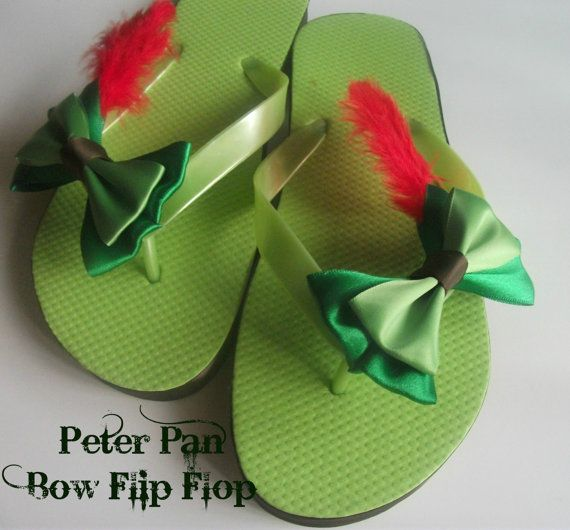 Peter Pan Bow Flip Flops by littlebowchicdesigns on Etsy, $16.00 Duuuuude! I have a hair bow that matches perfectly!