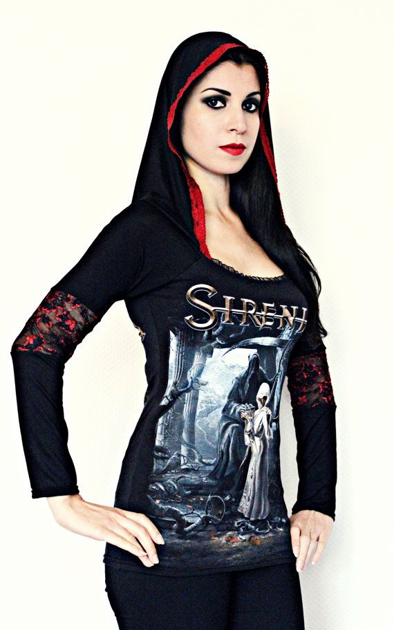 Sirenia t shirt hoodie gothic metal clothing by kittyvampdesigns