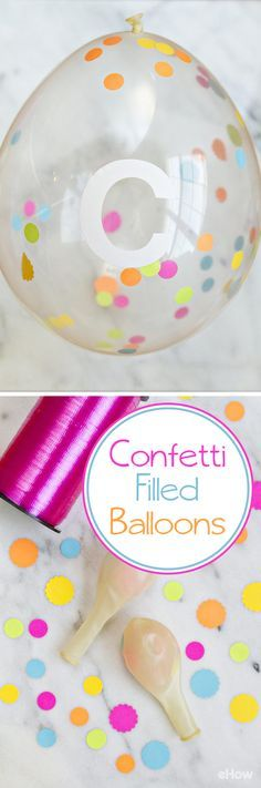 Every party needs these festive confetti-filled balloons! Using homemade confetti these balloons make the perfect addition to photo backdrops, look great hung behind cake tables, and make for festive and fun party decor. If you have kids, enlist their help as this is a fun project for all ages! http://www.ehow.com/how_2094235_make-confettifilled-balloons.html?utm_source=pinterest.com&utm_medium=referral&utm_content=freestyle&utm_campaign=fanpage
