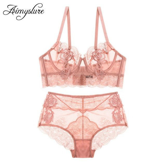 c171d92d64 Luxury Lace Bra Set Embroidery Transparent Bra Briefs Set Sexy Ultra Thin  Underwire Women Bras High